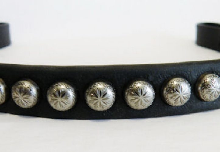 Western Leather Browband - Antiqued Studs